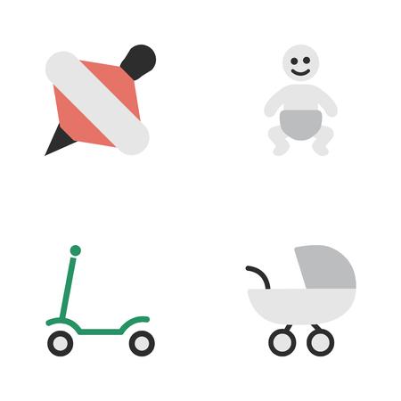 シンプルな幼児アイコンのベクター イラスト セット。要素のキック、ベビーカー、ユール、他の同義語のキック スクーター、子供たち。