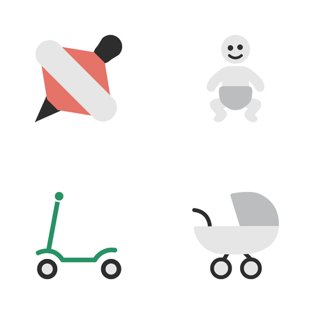 baby playing toy: Vector Illustration Set Of Simple Infant Icons. Elements Kick, Stroller, Yule And Other Synonyms Kick, Scooter And Children. Illustration