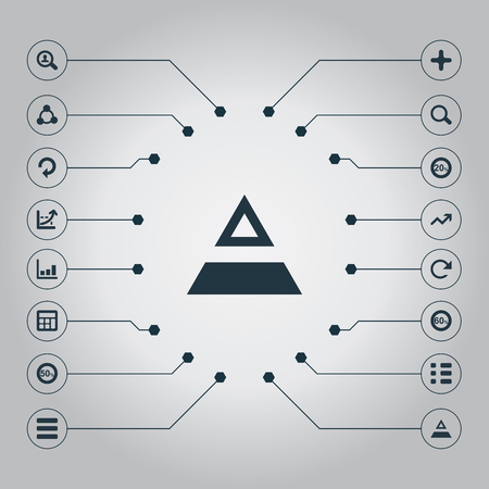 Vector Illustration Set Of Simple Diagram Icons. Elements Arrow, Structure, Fifty And Other Synonyms Fifty, Human And Calculator. Ilustração
