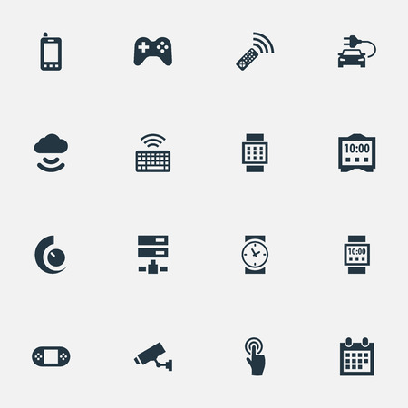 Vector Illustration Set Of Simple Web Icons. Elements Internet Of Things, Telephone, Wrist Device And Other Synonyms Alarm, Joystick And Interactive.