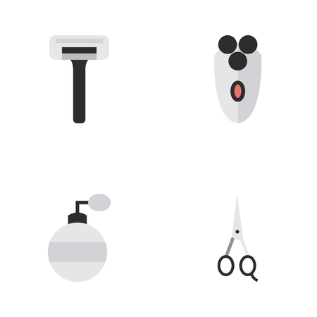 Vector Illustration Set Of Simple Barber Icons. Elements Shaver, Fragrance, Shaving Machine And Other Synonyms Scissors, Blade And Razor.