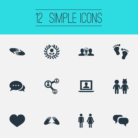 Vector Illustration Set Of Simple Friends Icons. Elements Beer, Care, Talk And Other Synonyms Order, Beer And Children.