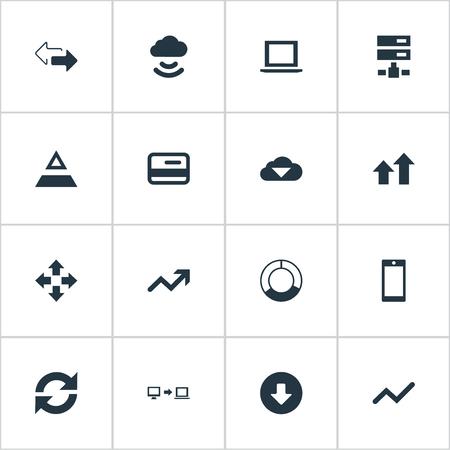 簡単な情報アイコンのベクター イラスト セット。要素の増加、サイクル グラフ、矢印、他の同義語の方向、グラフィックおよびプロセス。  イラスト・ベクター素材