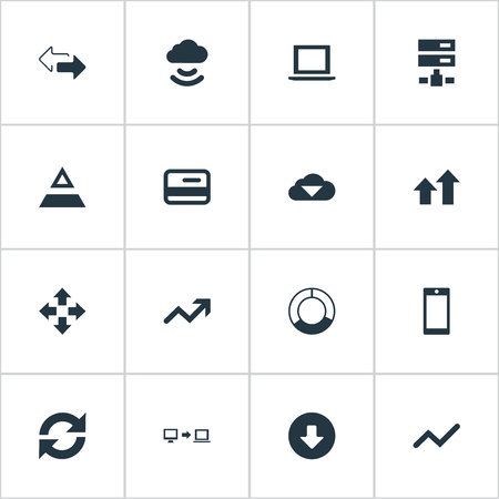 Vector Illustration Set Of Simple Information Icons. Elements Increase, Cycle Chart, Double Arrow And Other Synonyms Directions, Graphic And Process. Çizim