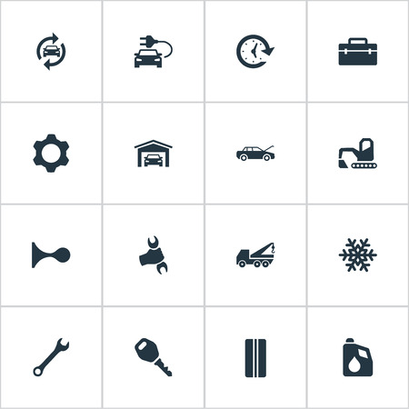 Vector Illustration Set Of Simple Vehicle Icons. Elements Workshop, Toolbox, Fuel And Other Synonyms Wheel, Winter And Vehicle.
