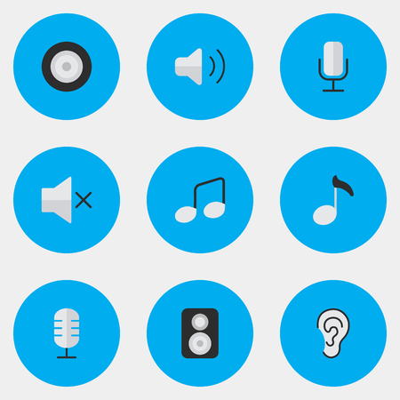 Vector Illustration Set Of Simple Sound Icons. Elements Listen, Speaker, Loudness And Other Synonyms Listen, Sign And Microphone.