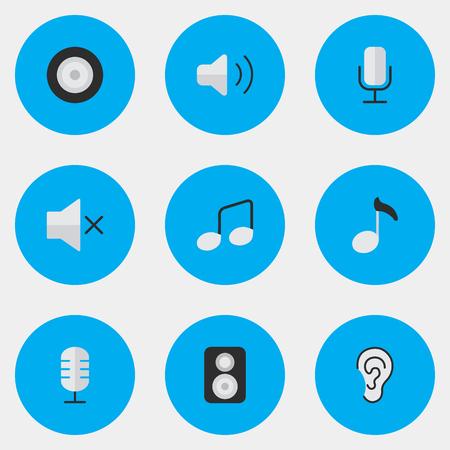 Vector illustratie Set van eenvoudige geluidspictogrammen. Elementen Luister, spreker, luidheid en andere synoniemen Luister, teken en microfoon.