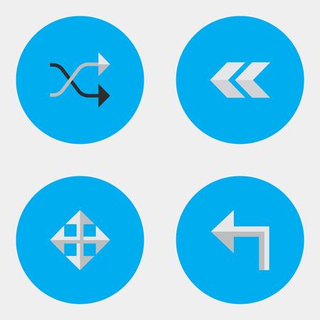 벡터 일러스트 레이 션 간단한 표시기 아이콘의 집합입니다. 뒤로, 뒤로, Chaotically 및 기타 동의어 왼쪽으로, 뒤로 및 확대 넓히다.