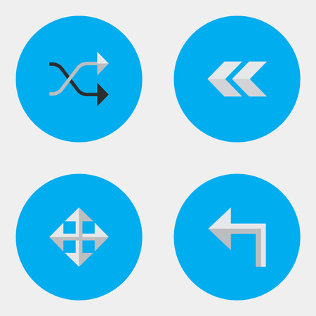 Vector Illustration Set Of Simple Indicator Icons. Elements Widen, Back, Chaotically And Other Synonyms Left, Backward And Enlarge. Illustration