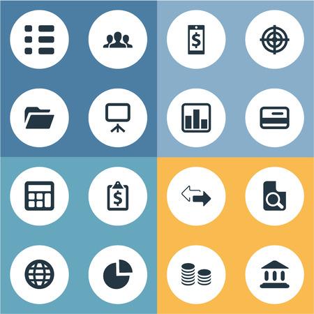 単純な金融アイコンのベクター イラスト セット。要素の線グラフ、タスク、裁判所および世界的な他の類義語携帯電話と検索します。