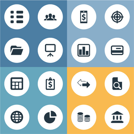 Vector Illustration Set Of Simple Finance Icons. Elements Line Chart, Task, Court And Other Synonyms Mobile, Global And Search. Illustration