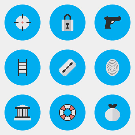 Vector Illustration Set Of Simple Crime Icons. Elements Grille, Closed, Lifesaver And Other Synonyms Sack, Climbing And Sniper.