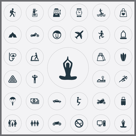 Vector Illustration Set Of Simple Health Icons. Elements PC, Lineage, Camping And Other Synonyms Retail, Club And Tourism. Banco de Imagens - 84710152