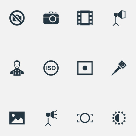 brilliancy: Vector Illustration Set Of Simple Photographic Icons. Elements Light Level, Flame Instrument, Film Strip And Other Synonyms Lustre, Photo And Cine-Film. Illustration