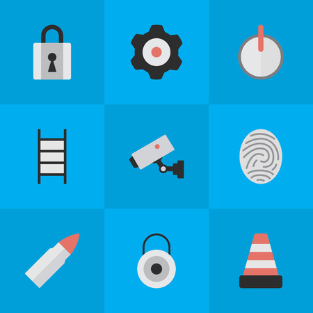 Vector Illustration Set Of Simple Criminal Icons. Elements Bioskyner, Shot, Stairs And Other Synonyms Close, Closed And Camera.