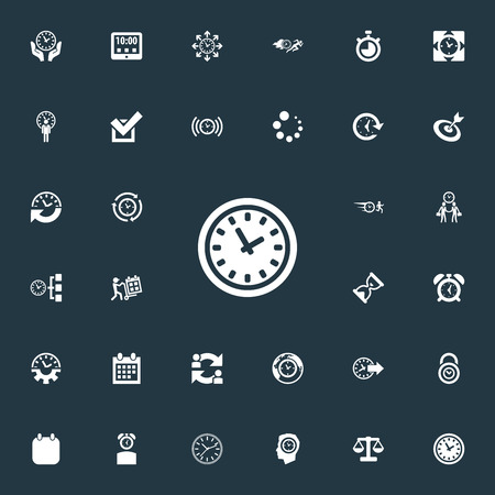 Vector Illustration Set Of Simple Management Icons. Elements Deadline, Chronometer, Tasks And Other Synonyms Timing, Redirect And Task.