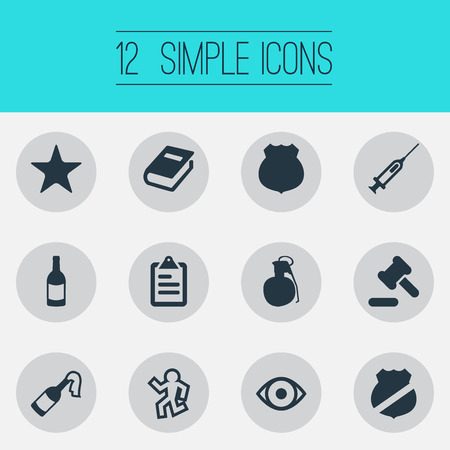 Vector Illustration Set Of Simple Crime Icons. Elements Vision, Bottle, Officer Badge And Other Synonyms Death, Vision And Officer.