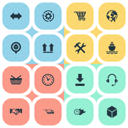 Vector Illustration Set Of Simple Logistics Icons. Elements Fast Cargo, Box, Retail And Other Synonyms Right, Gear And Revolve.