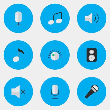 벡터 일러스트 레이 션 간단한 사운드 아이콘의 집합입니다. 요소 마이크, 레귤레이터, 스피커 및 기타 동의어 스피커, 음소거 및 볼륨.