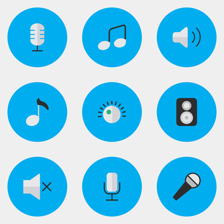Vector Illustration Set Of Simple Sound Icons. Elements Mike, Regulator, Speaker And Other Synonyms Speaker, Mute And Volume.