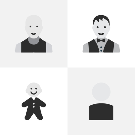Vector Illustration Set Of Simple Person Icons. Elements Avatar, Male, Guy And Other Synonyms Section, Shape And Male.