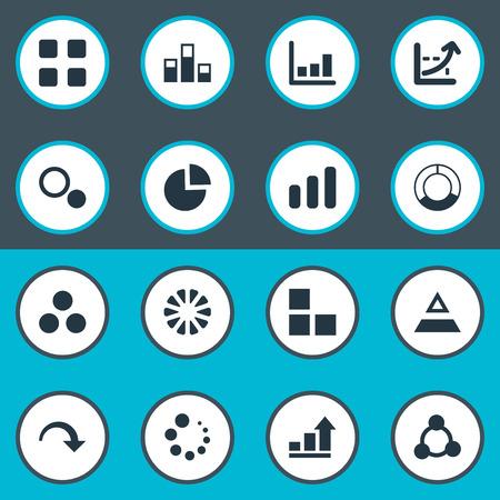 벡터 일러스트 레이 션 간단한 차트 아이콘의 집합입니다. 요소 데이터, 로딩, 원형 및 기타 동의어 구조, 큐브 및 원.