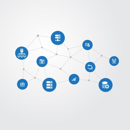 Vector Illustration Set d'icônes de réseau simple. Éléments Inbox, Antenne, Datacenter et autres synonymes Marque-page, dossier et centre de données. Banque d'images - 84710207