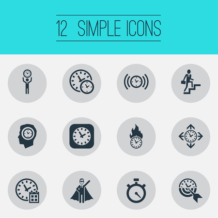 Vector Illustration Set Of Simple Management Icons. Elements Expert, Progress, Stopwatch And Other Synonyms Professional, Expert And Progress.