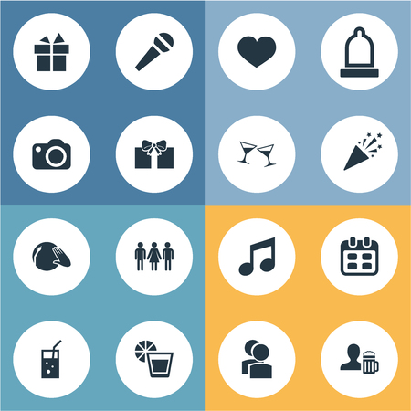 Vector Illustration Set Of Simple Party Icons. Elements Mike, Cocktail, Surprise And Other Synonyms Melody, Friends And Present.