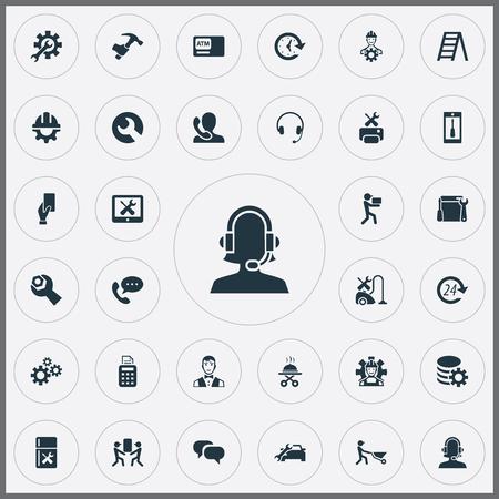 単純なサービス アイコンのベクター イラスト セット。要素のチャット、スマート フォン、自動車サロン、他類義語ツール更新あり。  イラスト・ベクター素材