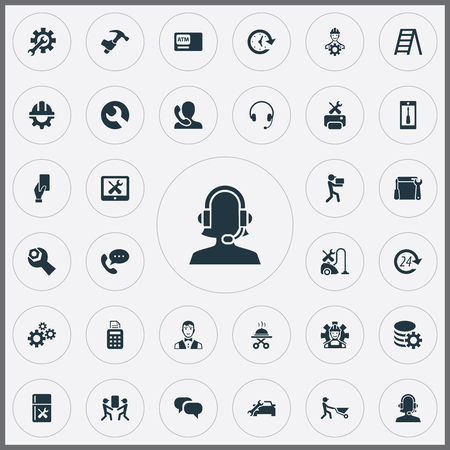 Vector Illustration Set Of Simple Service Icons. Elements Chatting, Smartphone, Automobile Salon And Other Synonyms Tool, Renewal And Serving. Ilustrace