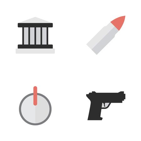 Vectorillustratiereeks Eenvoudige Misdadige Pictogrammen. Elements Shot, Safe, Weapon And Other Synoniemen Grille, Shot en Safe. Stock Illustratie