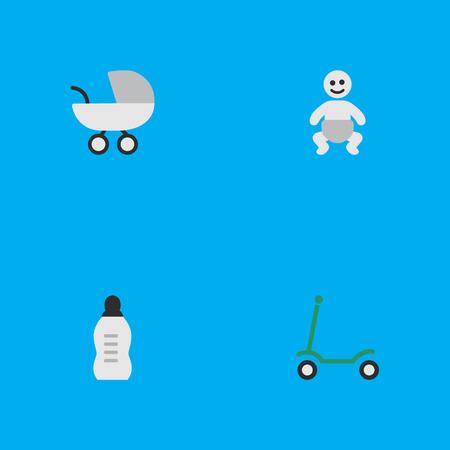 単純な子のアイコンのベクトル イラスト セット。要素の子、キック、ベビーカー、他の同義語の原付け、キックし、ボトルします。