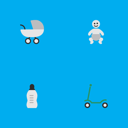 Vector Illustration Set Of Simple Child Icons. Elements Child, Kick, Stroller And Other Synonyms Moped, Kick And Bottle.