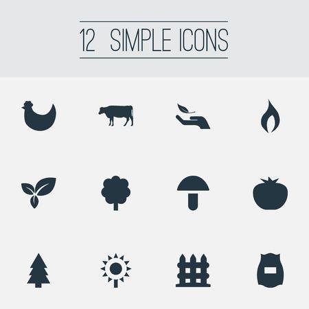 Ilustración vectorial Conjunto de iconos de naturaleza simple. Elementos de barrera, vaca, hoja y otros entornos de sinónimos, Cep y botánica. Foto de archivo - 84710216