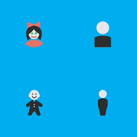 Vector Illustration Set Of Simple Avatar Icons. Elements Girl, Person, Guy And Other Synonyms Boy, Human And Woman. Ilustrace