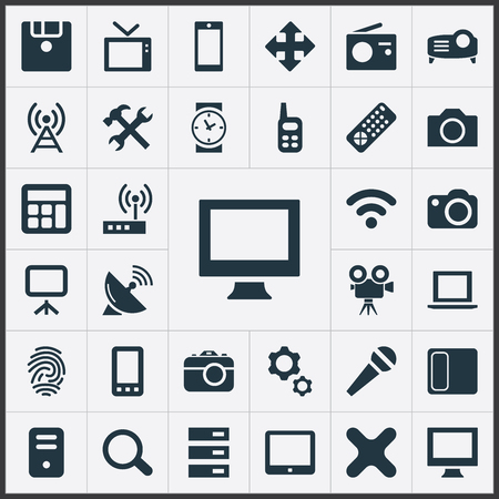 Vector Illustration Set Of Simple Hardware Icons. Elements Touchpad, Widen, Touchscreen And Other Synonyms Communication, Search And Fingerprint.