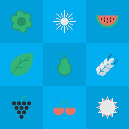 Vectorillustratiereeks Eenvoudige het Tuinieren Pictogrammen. Elementen bokszak, wijn, bessen en andere synoniemenstempels, zonnig en wijn. Stock Illustratie