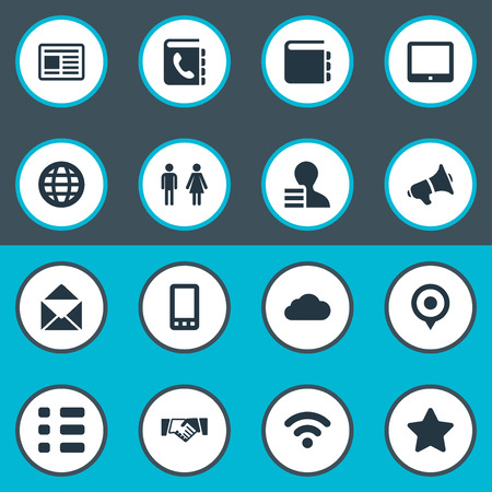Vector Illustration Set Of Simple Communication Icons. Elements Web Cloud, Cellphone, Palmtop And Other Synonyms World, Cellphone And Smartphone.