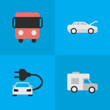 簡単な出荷アイコンのベクター イラスト セット。要素 Autobus、自動車、バンおよび他類義語バス自動とキャラバン。