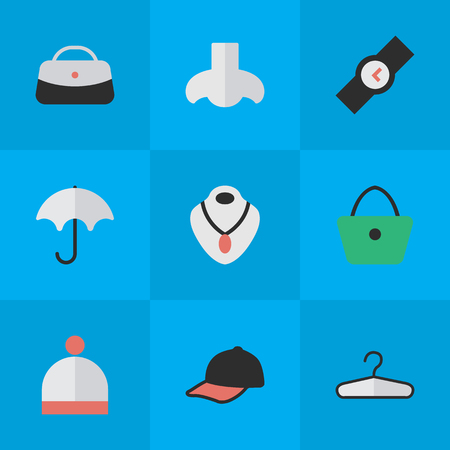 Vector Illustration Set Of Simple Accessories Icons. Elements Sport Hat, Wristwatch, Woman Bag And Other Synonyms Wear, Parasol And Jewelry. Illustration