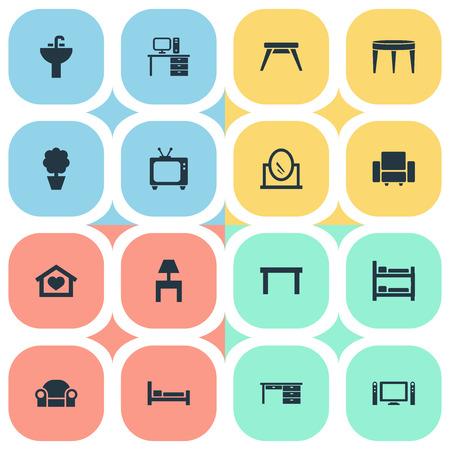 Vector illustratie Set van eenvoudige meubels pictogrammen. Elementen schraag, eigentijds ontwerp, tv en andere synoniemesette, bank en bord.