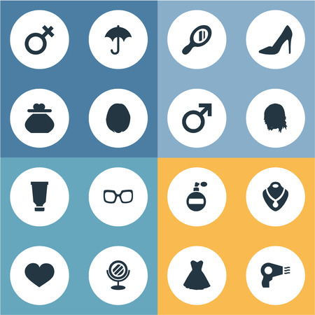 Vector Illustration Set Of Simple Fashion Icons. Elements Blowdryer, Glass, Mars Sign And Other Synonyms Mirror, Mars And Glasses. Illustration