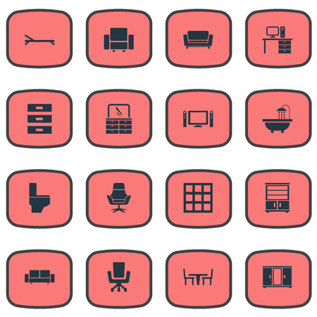 Vector Illustration Set Of Simple Furniture Icons. Elements Stillage, Wardrobe, Sofa And Other Synonyms Beach, Computer And Furniture.