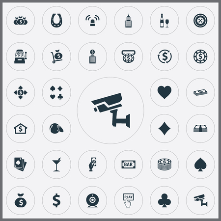 Vector Illustration Set Of Simple Gambling Icons. Elements House, Pay, Income And Other Synonyms Swap, Home And Dj. Çizim