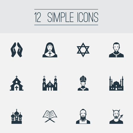 Vector Illustration Set Of Simple Religion Icons. Elements Pontiff, Temple, Taoism And Other Synonyms Praying, Mosque And Catholic. Illustration