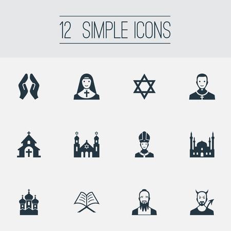 Vectorillustratiereeks Eenvoudige Godsdienstpictogrammen. Elementen paus, tempel, taoïsme en andere synoniemen Bidden, moskee en katholiek.