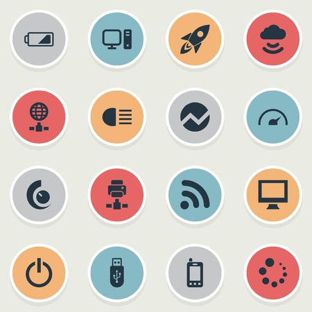 Vector Illustration Set Of Simple Gadget Icons. Elements PC, Launch, Web Cam And Other Synonyms Printer, Connection And Cloud. Illustration