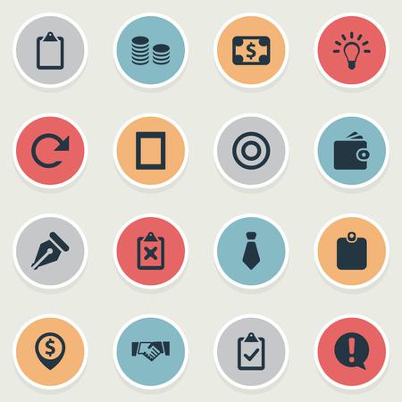 単純なビジネス アイコンのベクター イラスト セット。要素のクリップボード、ペン先、変更、その他類義語チェックリストについては、完全な人