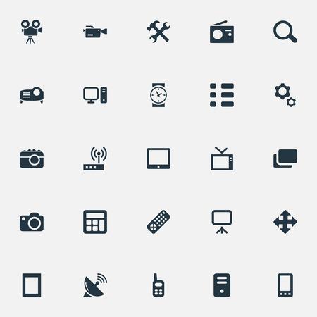 Illustration vectorielle définie des icônes de gadgets simples. Éléments calendrier, spectacle, horloge et autres synonymes cpu, paramètres et recherche.